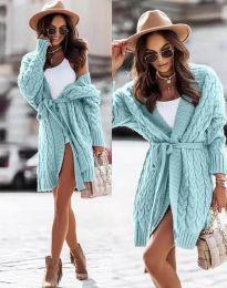 Дамска дълга плетена жилетка с колан в цвят мента - код 2894