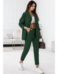 Спортно-елегантен дамски комплект сако и панталон в тъмнозелено - код 1661