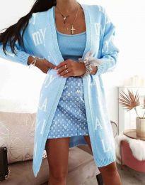Ефектна дълга плетена дамска жилетка в светлосиньо - код 2369