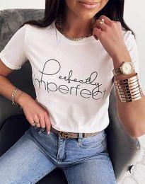 Дамска тениска в бяло с принт - код 1222