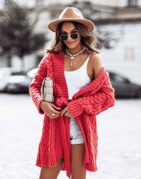 Дамска дълга  плетена жилетка с колан в червено - код 2894