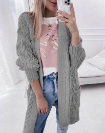 Свободна дълга плетена дамска жилетка в сиво - код 2927