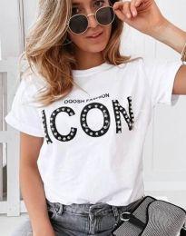 Ефектна тениска с надпис и перли в бяло - 4357