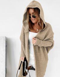 Дамска дълга плетена жилетка с качулка в бежово - код 2464