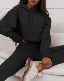 Спортен дамски комплект с долнище и суичър с качулка в черно - код 6241
