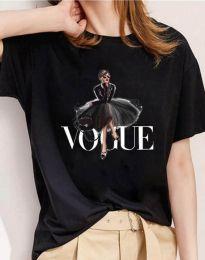 Тениска в черно с моден принт - код 3619