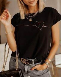 Дамска тениска в черно - код 2980