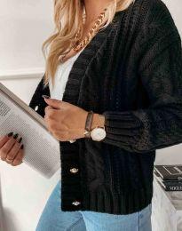 Дамска къса плетена жилетка с копчета в черно - код 3876