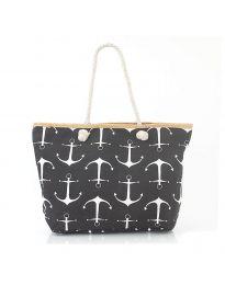 Плажна чанта в черно на котви с въжени дръжки - код H-9026