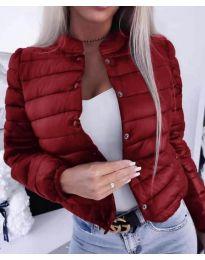 Късо дамско яке с копчета в бордо - код 579