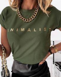 Дамска тениска с надпис в тъмнозелено - код 4078