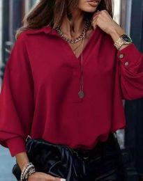 Свободна елегантна дамска риза с дълъг ръкав в бордо - код 2753