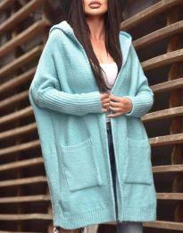 Дамска свободна жилетка с качулка в  цвят мента - код 9066