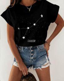 Дамска тениска с принт зодия рак в черно - код 2342