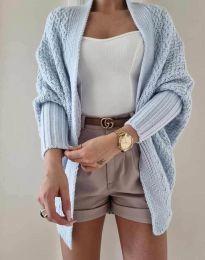 Дамска плетена свободна жилетка в светлосиньо - код 5128