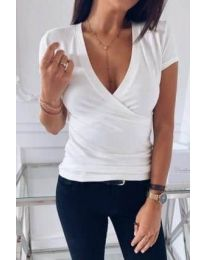 Дамска изчистена тениска в бяло - код 3310