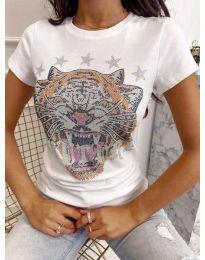 Дамска тениска в бяло с принт - код 6596