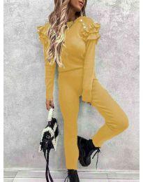 Дамски комплект блуза и панталон в  цвят горчица - 5583