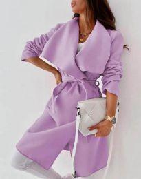 Дълго дамско палто с колан в светлолилаво - код 0960