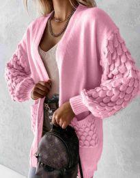 Модерна дълга свободна плетена жилетка в розово - код 0785