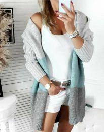 Дълга плетена дамска жилетка с качулка - код 4587 - 1