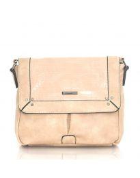 Дамска чанта в цвят праскова с капак и дълга дръжка - код  Y81914-1