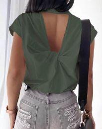 Дамска тениска с ефектен гръб в масленозелено - код 4515