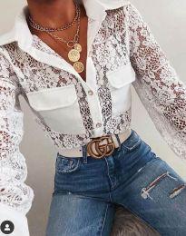 Елегантна дамска риза дантела в бяло - код 1404