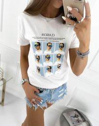 Дамска тениска с принт в бяло - код 4341