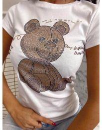 Дамска тениска в бяло с принт - код 2170