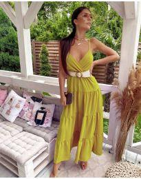 Slobodna duga haljina u senf boji - kod 719