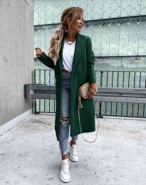Дълго елегантно дамско палто с копчета в масленозелено - код 8746