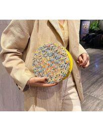 Дамска чанта с атрактивен десен и жълт цип - код B65 - 4