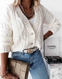 Дамска къса плетена жилетка с копчета в бяло - код 3876
