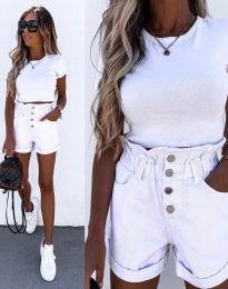 Къси панталонки с висока талия в бяло - код 5301