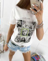 Атрактивна тениска с принт в бяло - код 2353 - лице