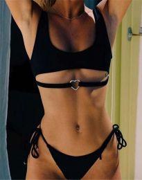 Дамски бански костюм с връзки две части в черно - код 9083