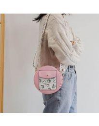 Кръгла  чанта в розово с преден джоб и дълга дръжка - код B163