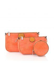 Дамска чанта от три части в оранжево с цип и дълга дръжка - код NH2889