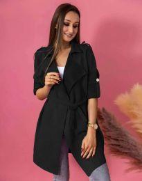 Атрактивно дълго дамско сако велур с колан в черно - код 7893