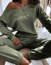 Спортен дамски екип с долнище висока талия и блуза с дълъг ръкав и деколте лодка в масленозелено - код 0448