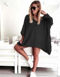 Свободна дамска плетена туника в черно - код 4167