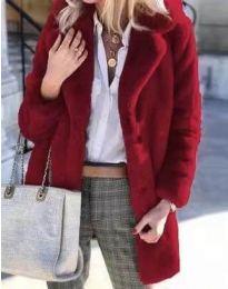 Дамско зимно пухено палто с копчета в цвят бордо - код 4664