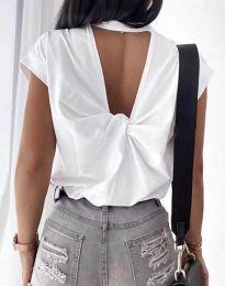 Дамска тениска с ефектен гръб в бяло - код 4515