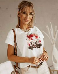 Тениска в бяло с моден принт - код 2282