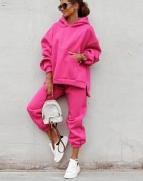 Спортен свободен дамски комплект долнище и суичър с качулка в цвят циклама - код 0827