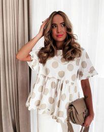 Атрактивна дамска блуза с бежови мотиви - код 6181