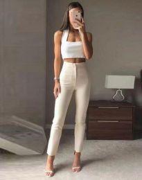Елегантен дамски панталон с висока талия в бежово - код 3128