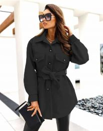 Дамско спортно-елегантно палто с копчета в черно - код 4966