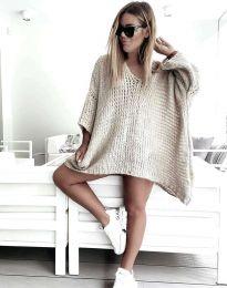 Свободна дамска плетена туника в бежово - код 4167